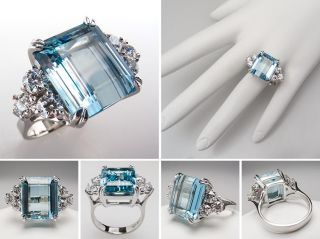 Vintage Estate Emerald Cut Aquamarine Diamond Cocktail Ring 14k White