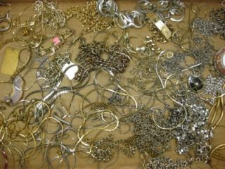 Vintage Jewelry Junk Lot Silver Gold Chains More Craft Destash