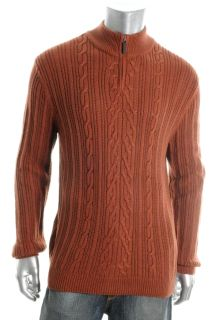 Tasso Elba New Brown Long Sleeve Marled Cable 1 4 Zip Pullover Sweater