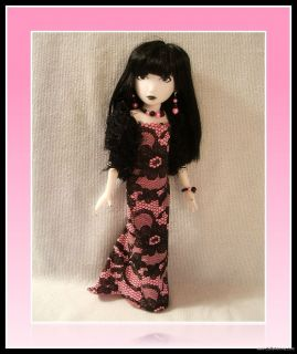 HANDMADE FASHION 4 EMILY the STRANGE DOLL Clothes Stole Gown Jewelry