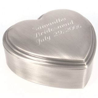 Personalized Pewter Brushed Classic Heart Jewelry Box   Free Engraving