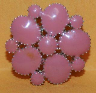 Vintage Pink Enamel Flower Pin Brooch Jewelry Silver Tone