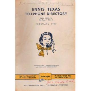 Original 1966 Ennis, Texas TX Vintage Telephone Directory Book