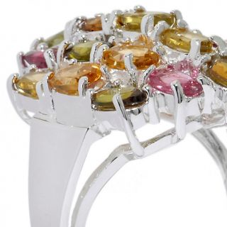 42ct Colors of Tourmaline Sterling Silver Oval Ring