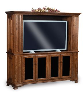 Amish TV Entertainment Center Solid Oak Wood Media Hutch Cabinet