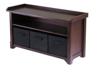 Winsome Storage Bench Seat Entry Foyer Storage Living Room Black