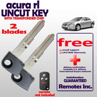Lot of 2 Uncut Acura RL Keyless Entry Remote Keyfob Replacement Blades