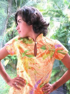 Vintage Hawaiian Hilo Hattie Mod Orchid Mandarin Dress