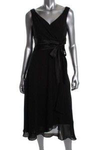 Evan Picone New Black Chiffon Sleeveless Satin Tie Dress Size 12