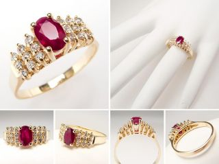 Natural Ruby Engagement Ring w/ Diamond Accents Solid 14K Gold Estate
