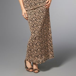American Glamour Badgley Mischka Brushed Lace Maxi Skirt at