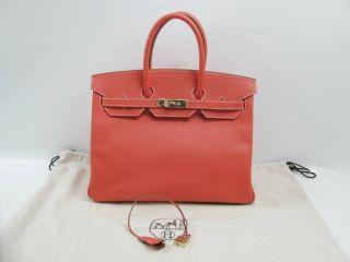 Auth HERMES Epsom Birkin 35 Rose jaipur Handbag Silver Hardware