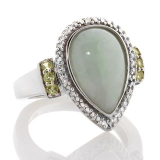 Sterling Silver Pear Shaped Green Jade and Peridot Ring with Diamond