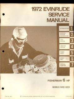 1972 Evinrude 6hp Fisherman Outboard Motor Service Manual Models 6202