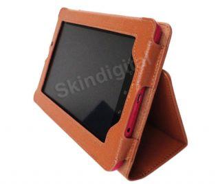 For Kobo Vox Tablet eReader Brown GENUINE LEATHER Case Cover + Screen