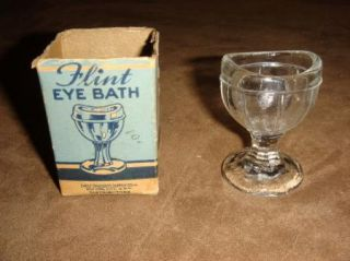 Vintage Flint Eye Wash Glass Cup with Box Eagle Drugs