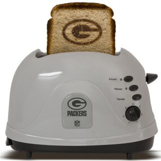toaster featuring the green bay packers logo toasts bread english
