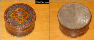 19th century antique Folk Art original engraved wooden jewelry box