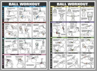 Swiss Ball Workout Fitness Health Club Poster Set 2