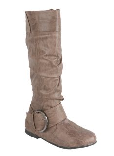 ELEGANT Womens Flat bottom mid calf boots with wrinkled upper and a