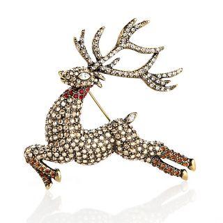 Heidi Daus Glitzen Crystal Accented Reindeer Pin