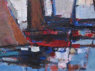 Pierre Bordenave 1900 1969 Huge French Impressionist Oil Signed Boats