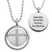 Stainless Steel Crystal Cross Disc Pendant with Chain