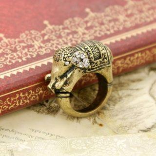 Vintage Bronze Rhinestone Elephant Rings Fashion Elegant Ring Free