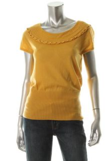 Elie Tahari New Lisa Yellow Merino Wool Ribbed Short Sleeve Pullover