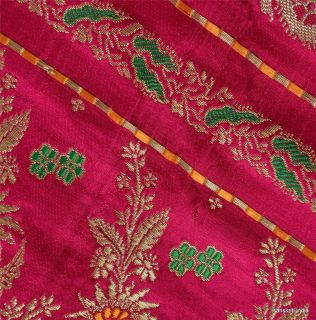 Vintage Sari Hand Woven Brocade Fabric Art Silk Heavy Decor Saree