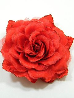 Large Fabric Rose Flower Brooch Pin CDA4 Red 4189