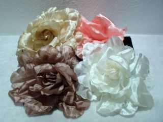 Large Floppy Fabric Flower Hair Clip Corsage Brooch Pin Gold Brown