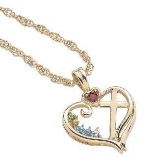 110 8494 goldtone mother s birthstone color crystal heart and cross