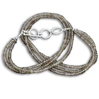 Awesome Natural Facet Smoky Quartz 3 Strand 925 Silver Beads Necklace