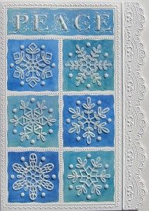 Carol Wilson Christmas Greeting Card Peace Glitter Snowflakes Embossed