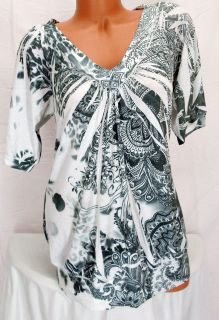 Boho ESPRESSO White & Gray Sublimation Paisley Stretch Tunic Top Shirt