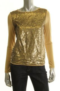 Ellen Tracy Gold Sequined Front Long Sleeves Casual Top Shirt L BHFO