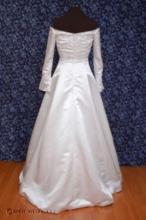Demetrios White Satin Bell Sleeves Wedding Dress 8 NWD