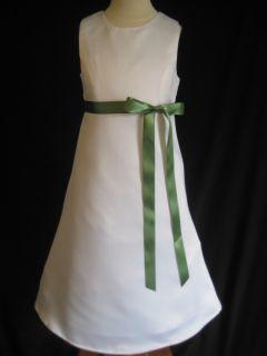 Clover Green Aline Flower Girl Dress 2T 3T 4T 5 6 7 8 10