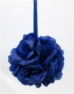 Kissing Ball Pomander ROYAL BLUE Silk Flowers, Wedding Arrangements