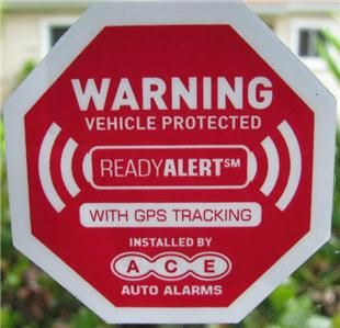 Fake Red Auto Alarm Security Warning Static Stickers