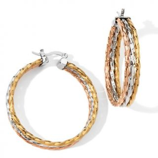 128 469 stately steel rope design tri color triple hoop earrings