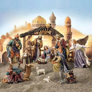 New Hand Painted 19 Piece Christmas Nativity Set Resin Figures