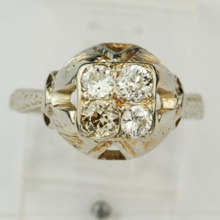 Estate Antique Gold Mine Cut Diamond Engagement Ring