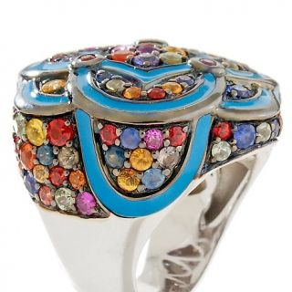 6ct Multicolor Sapphire with Blue Enamel Sterling Silver Ring