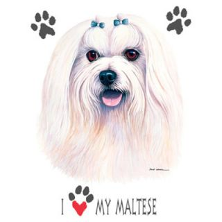 877A Maltese Dog Heat Transfer T Shirt Fabric Iron On