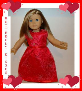 Doll Clothes Fit American Girl Long Red Silver Sparkle Christmas Dress