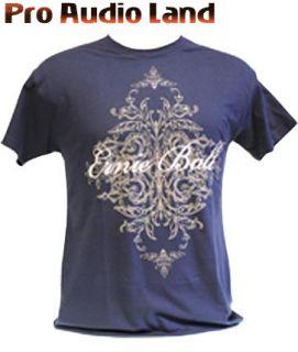 Ernie Ball Cursive TRIBAL Floral Blue Logo T Shirt LARGE L NEW