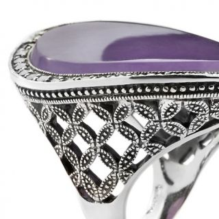 Dallas Prince Designs Jade and Marcasite Sterling Silver Oval Ring at