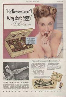 Whitman Chocolates Sampler 1951 Ad Esther Williams
